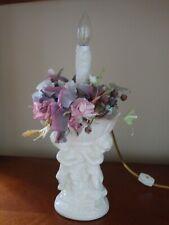 Handmade Ceramic Novelty Accent Night Light Lamp with Angel Cherubs and Flowers