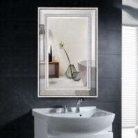 "24"" x 36"" Rectangular Wall-Mounted Wooden Frame Vanity Mirror Glass Bathroom"