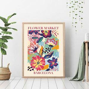 Barcelona - Flower Market Poster, Florist Gift, Vintage Art Poster Print