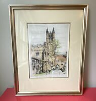 Framed Original Signed Colored Etching of Princeton University by Paul Geissler