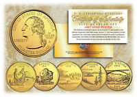2005 US Statehood Quarters 24K GOLD PLATED ** 5-Coin Complete Set ** w/Capsules