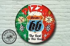 Route 66 PIZZA METAL SIGN, voitures, American, gaz, classique, garage DECOR, 961