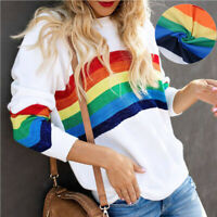Women Rainbow Print Casual Long Sleeve Pullover Ladies T-Shirt Loose Tops Blouse