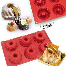 6-Cavity Silicone Mini Fancy Bundt Savarin Cake Pan Silicone Mold Baking Mould