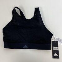 adidas High-Neck Strappy-Back Medium-Support Black Halter Sports Bra Size S $75