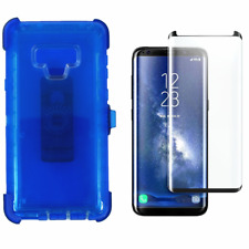 For Samsung Note 9 Transparent Case W/Screen&Clip Fits Otterbox Defender Blue