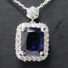 "Vintage Blue Sapphire Pendant Statement Necklace Women Jewelry 18"""