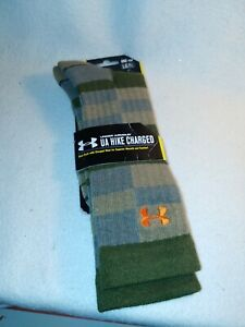New Men Under Armour Wool Hike Charged Size Large (9-12.5) Hunt Fish Crew Socks