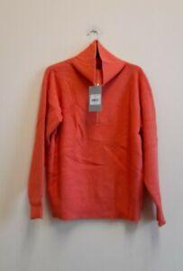 Oliver Bonas Zip Neck Orange Knitted Jumper size UK10 EUR 38 {Z160}