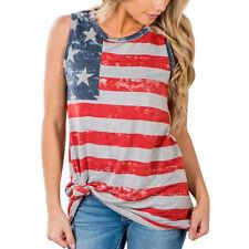 2017 Womens Summer Vest T Shirt Ladies Sleeveless Tank Tops American Flag Blouse #3 M