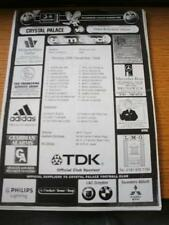 28/12/1998 Teamsheet: Crystal Palace v West Bromwich Albion (Folded, Writing On