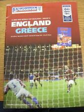 06/10/2001 England v Greece [At Manchester United] (Creased). This item is in ve