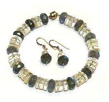 Labradorite and Citrine Bracelet Earring Set Women's Jewelry Size 7 1/2 Beaded
