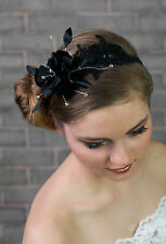 New Ladies Girls Wedding Bridal Prom Black White Ivory Hair Fascinator Hat UK