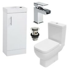 RAK Series 600 Toilet Soft Close Seat White Cloakroom 400mm Vanity Unit With Tap