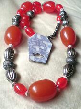 "Orange Resin & Silver Large beaded Statement Long Necklace 28""/72cm. £ 9.50 Neuf avec étiquette"