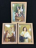 VINTAGE REVERSE PAINTED CONVEX BUBBLE GLASS RELIGIOUS PICTURES NOS W/BOX UNUSED