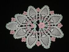 Hand Made Doily Crocheted  Hummingbird rose & Flowers Thread