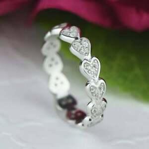 Art Deco 0.50 CT Heart Shape Full Eternity Engagement Ring 14K White Gold Finish