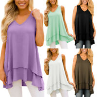 Womens Summer Holiday Sleeveless Vest Tops Blouse Ladies Loose T Shirt Plus Size