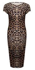 New Womens Ladies Short Sleeve Midi Dress Bodycon PLUS SIZE Cap Midi Dress 8-22