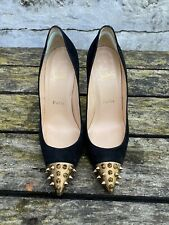 Authentic Black Suede CHRISTIAN LOUBOUTIN Spiked heels, size 36.