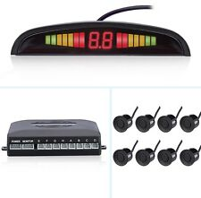 Front&Rear Car Reverse 8 Parking Sensors Kit Black Buzzer Alarm System + Display