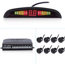 Frente Y Parte Trasera Coche Reversa 8 Sensores De Aparcamiento Kit Zumbador Alarma Sistema NEGRO + Pantalla