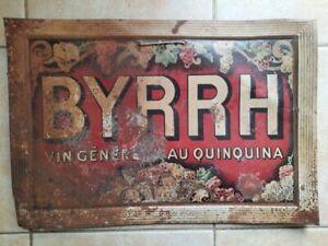 Ancienne Plaque en tôle BYRRH Vin généreux au quinquina APERITIF 33x48cm