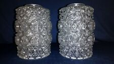 PAIR OF VINTAGE 70s CHUNKY GLASS LIGHT SHADES - WALL LIGHT / CHANDELIER - ICE