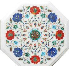 "12"" marble corner table top semi precious stones floral inlay art home decor"