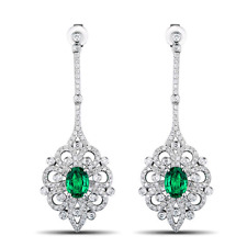 2.56ct 100% Natural Colombia Emerald Diamond Earrings In Solid 18k White Gold
