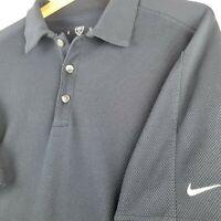 NIKE GOLF Large Men's Sphere-Dry Polo Shirt Navy Blue Size L Short Sleeve EUC
