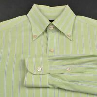 OXXFORD CLOTHES Green Striped Oxford Cotton Mens Luxury Dress Shirt - 16