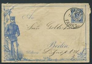 Packetfahrt, Briefumschlag 1891 Neujahrsdruck der Berliner Omnibus AG 5 Pf #h591