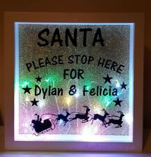 Light up personalised Santa please stop here Christmas Box frames
