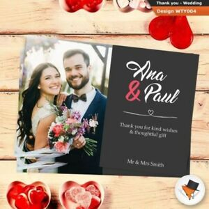 Premium POSTCARD Personalised Wedding Thank You Cards Includes Envs + Photo