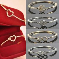 Charm  Fashion Women Crystal Rhinestone Gold Plated Cuff Bangle Bracelet Jewelry