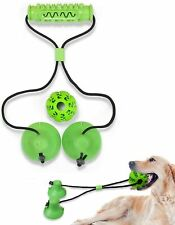 Interactive Dog Chew Toys: 2 Suction Cup + Ball. Serrated Molar Dog Chewing Toys