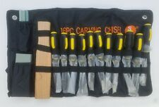 WOOD CARVING SET 16 PIECE CHISELS WOODWORKING HAND TOOL KIT with Cloth Pouch