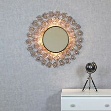 Kratos Antique Copper Sunburst Rays Light Wall Mirror