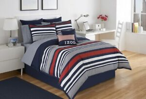 IZOD, Varsity Stripe Comforter Set - Pillow Sham + Bedskirt  (Choose Size)