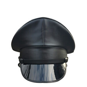 New Mens Faux Leather Black Police Gay Military Army Muir Biker Peaked Caps Hat