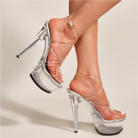 Women 15Cm High Heels Platform Sandals Clear Stiletto Strap Bandage Buckle Shoes