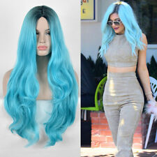 Kylie Jenner Black Green Wig Long Natural Straight Duck Egg Blue Hair Wigs