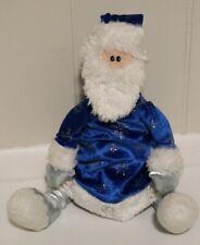 First & Main, Inc Blue White Silver Santa Doll Christmas Plush