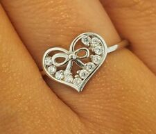 14k Solid White Gold 0.10 CT Heart Ring Love Fancy Fashion Cocktail Band