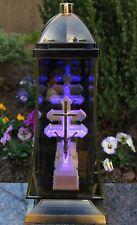 Grablaterne 37cm Grablicht LED Lampe Grableuchte Glas Grabschmuck Kreuz 26 Licht