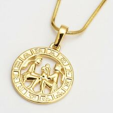 """18k Yellow Gold Filled 12 Horoscope Gemini Pendant Necklace 18""""Chain"""