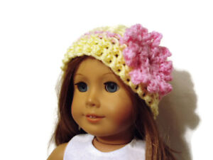 """Crochet Hat Fits American Girl Dolls 18"""" Doll Clothes Yellow with Pink Flower"""